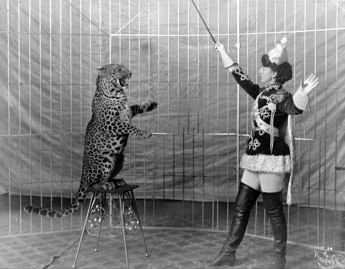 Female_animal_trainer_and_leopard,_c1906.jpg