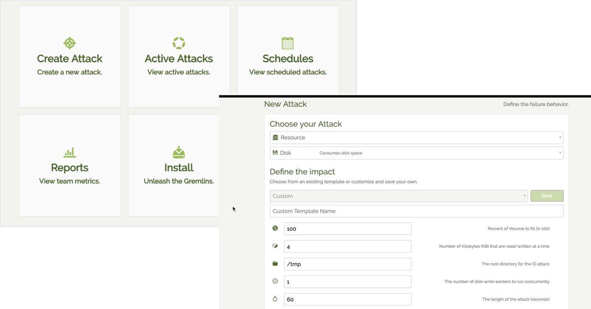 Gremlin chaos as a service application UI