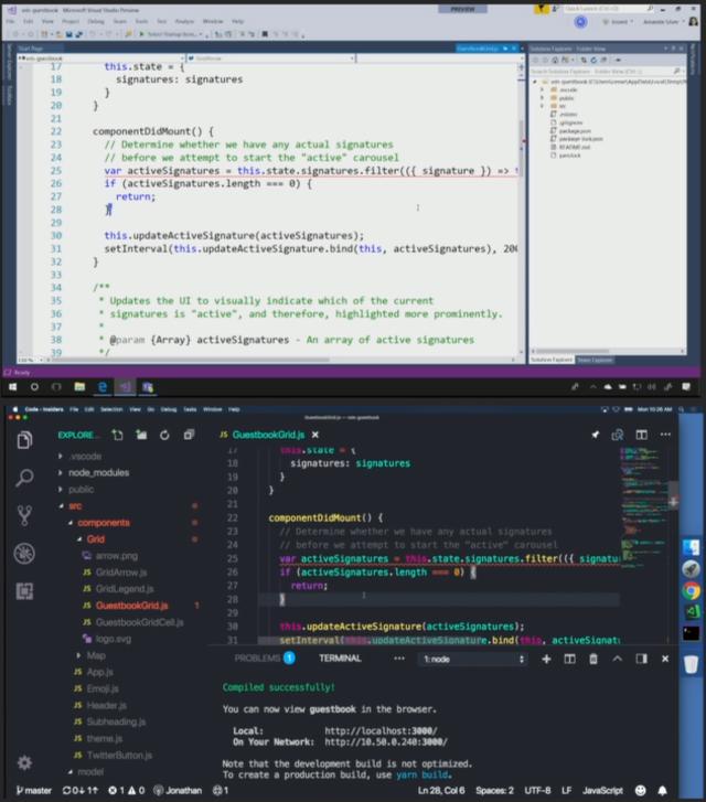 Visual Studio Live Share demo dual screenshot