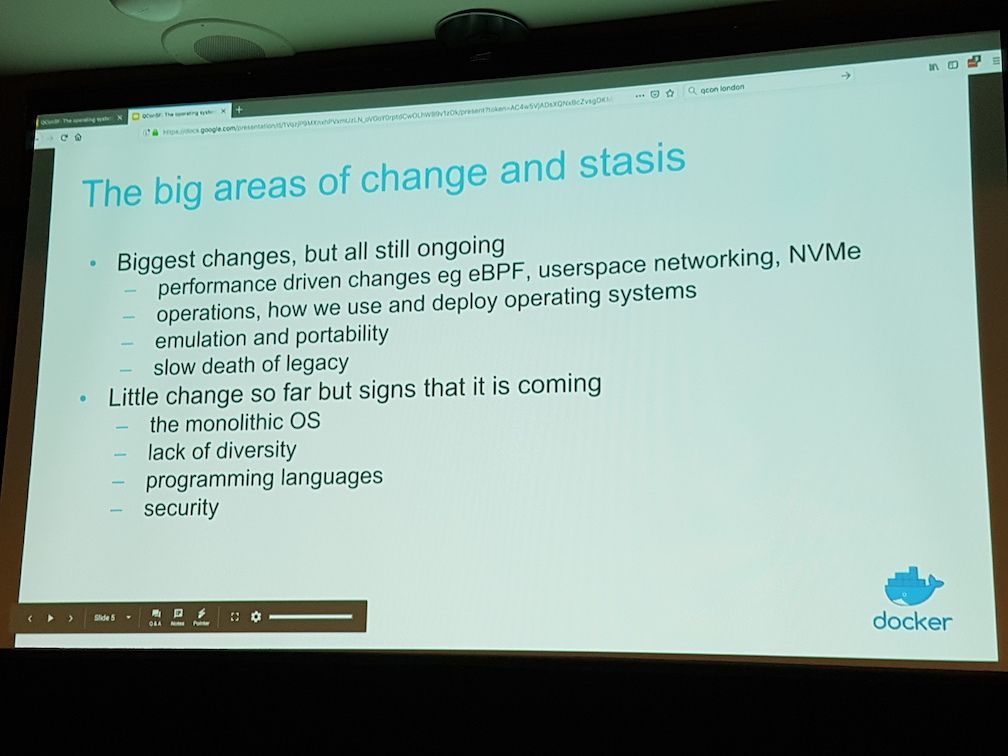 The big areas of change in operating systems