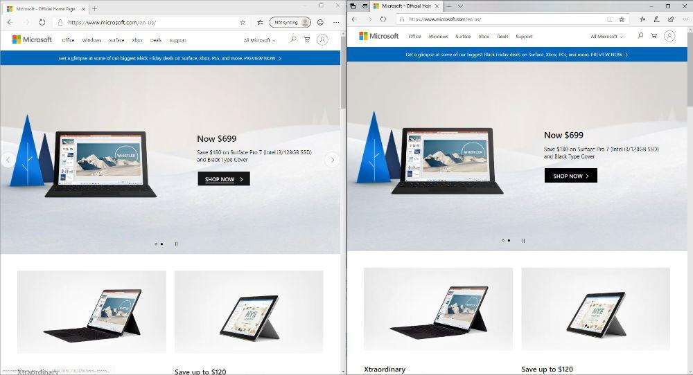 Microsoft Edge browser comparison