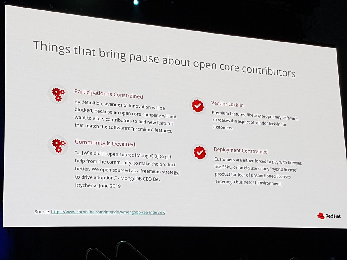 Things that bring pause for open core contributions.