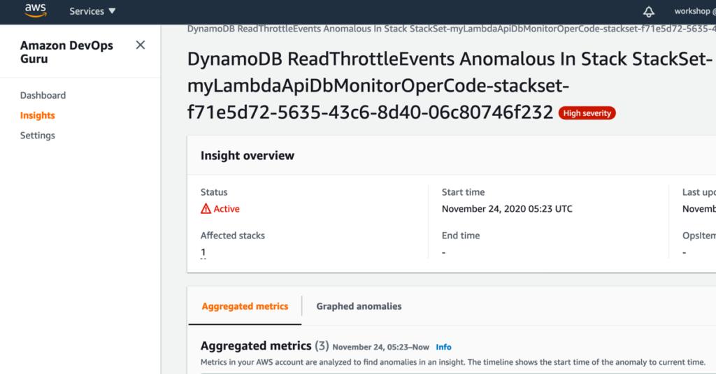 Amazon DevOps Guru sample operational issue
