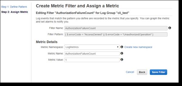 Amazon CloudWatch Logs Metric Filter