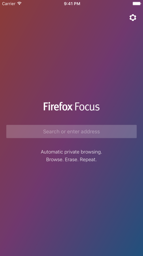 screenshot of Firefox Focus 2.0 on iOS showing the main page with its sole search bar.