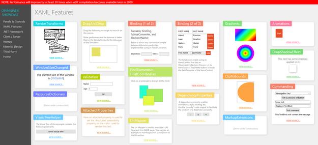 OpenSilver showcase application: XAML features