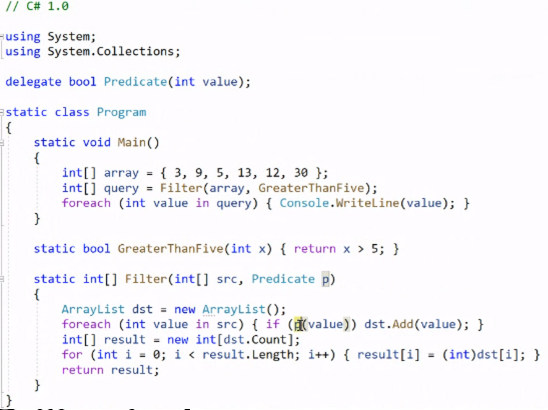 Figure 1: Sample code in C# 1.0 syntax
