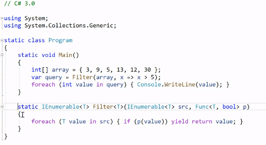 Figure 2: Sample code in C# 3.0 syntax