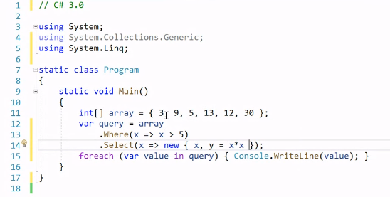 Figure 3: Sample code in C# 3.0 syntax, with Where and Select LINQ statements