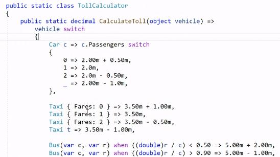 Figure 6: Advanced pattern matching in C#